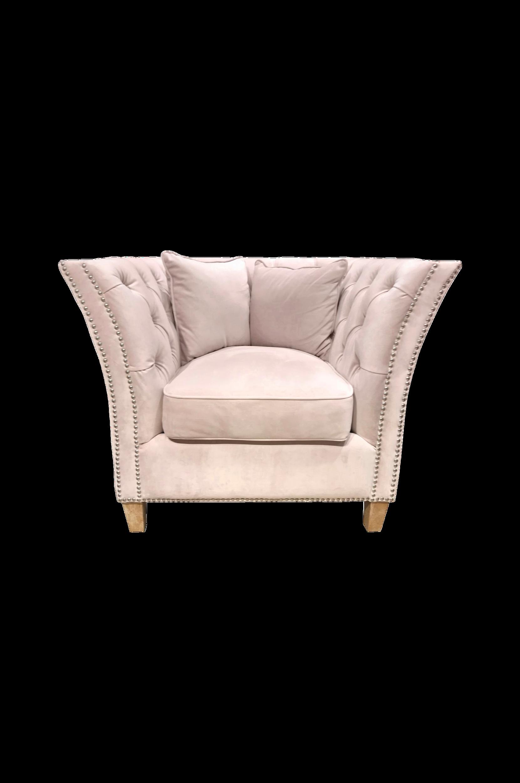 Nojatuoli, jossa on päällystetyt napit, korkeus 82 cm