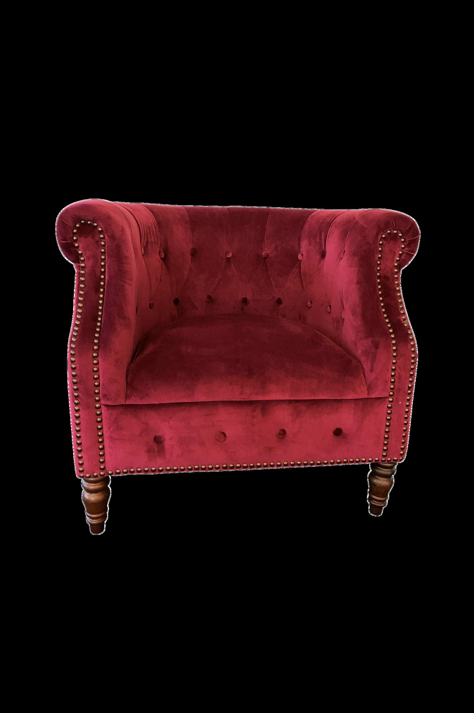 Nojatuoli, jossa on päällystetyt napit, korkeus 77 cm