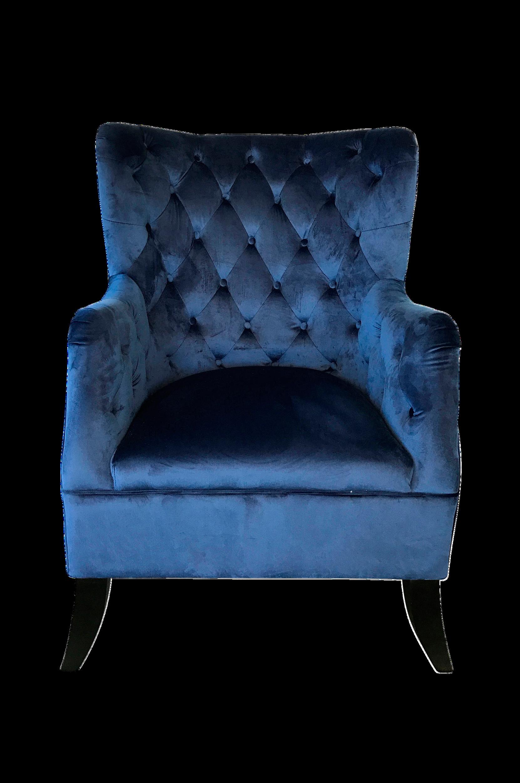 Nojatuoli, jossa päällystetyt napit, korkeus 109 cm