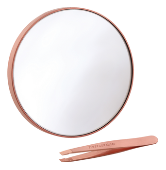 10x Magnifying Mirror ja Rose Gold Mini Slant Tweezer