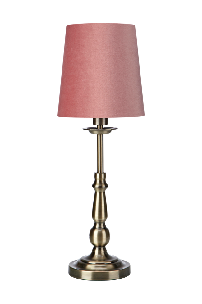 Bilde av ABBEY Bordlampe Antikk Messing/Rosa