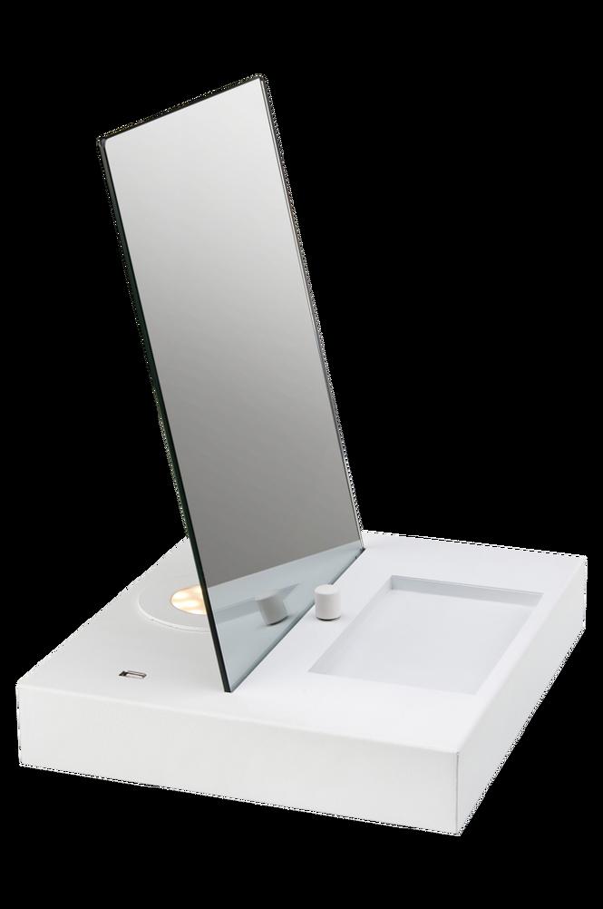 REFLECT Bordslampa USB Spegel/Vit