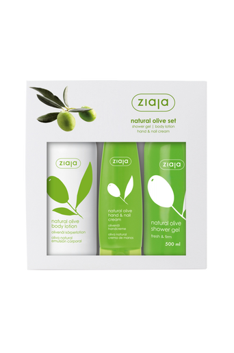 Natural Olive Body Lotion 400 ml, Hand and Nail Cream 80 ml & Shower Gel 500 ml lahjapakkaus