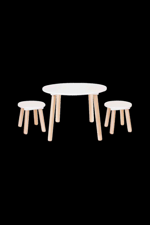 Pöytä ja kaksi jakkaraa
