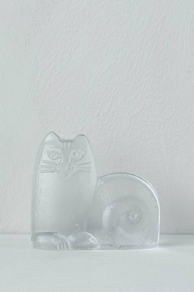 Bilde av Katt i glass, Lisa Larsson Royal Krone, høyde 9,5 cm - Klart glass