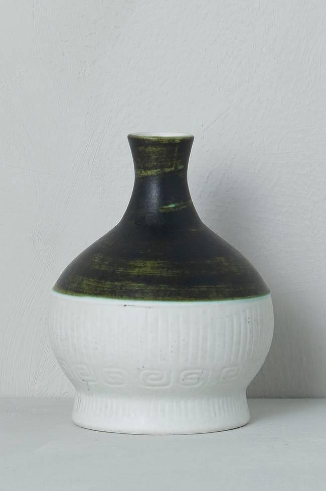 Bilde av Vase Jasmin Rörstrand, høyde 14,5 cm - Grønn + Hvit