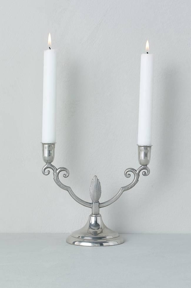 Bilde av 2-armet lysestake i tinn, høyde 17 cm - Sølv