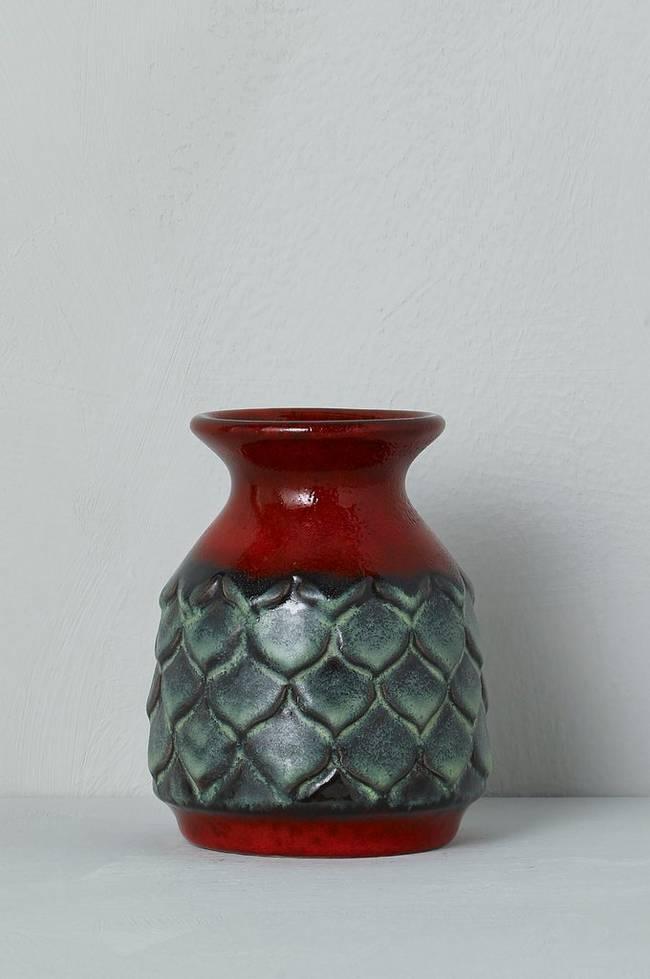 Bilde av Vase Jasba Keramik, høyde 12 cm - Grønn + Rød