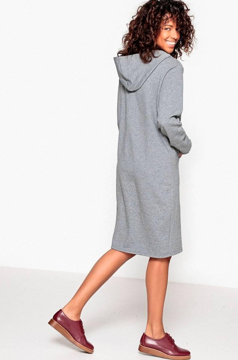 La Redoute Sweatshirtklänning med huva Grå Dam Ellos.se