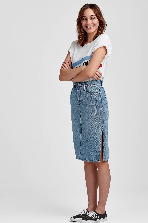 Side Slit Skirt Blue Waves -farkkuhame