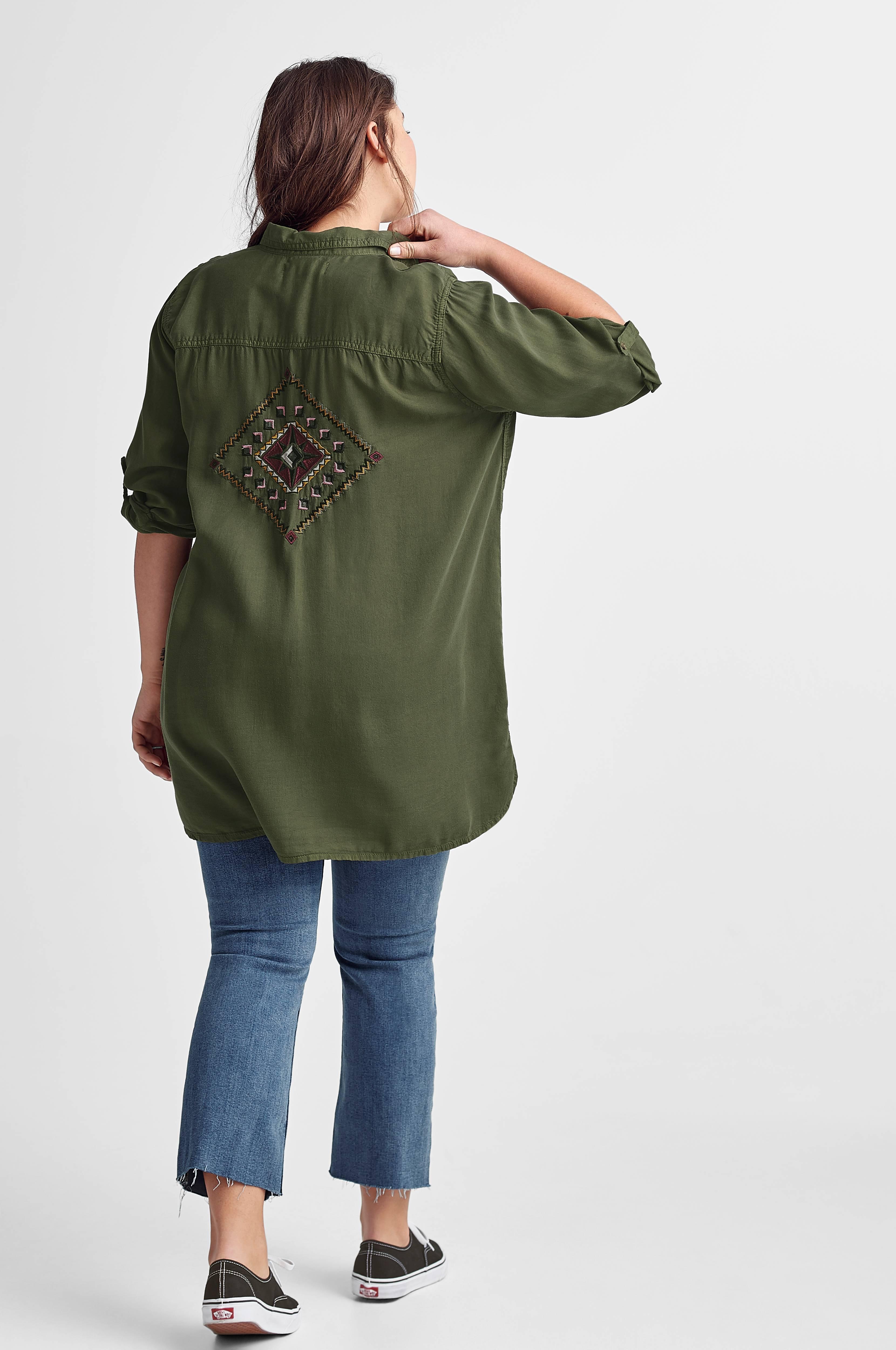 Zizzi Skjorte Mbridget LS Shirt Grønn Skjorter Ellos.no