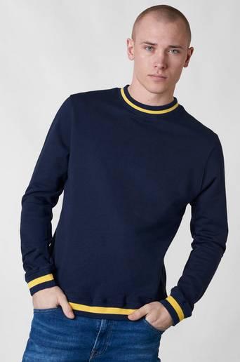 Oliver Total Stripe Rib Crew Navy -collegepusero