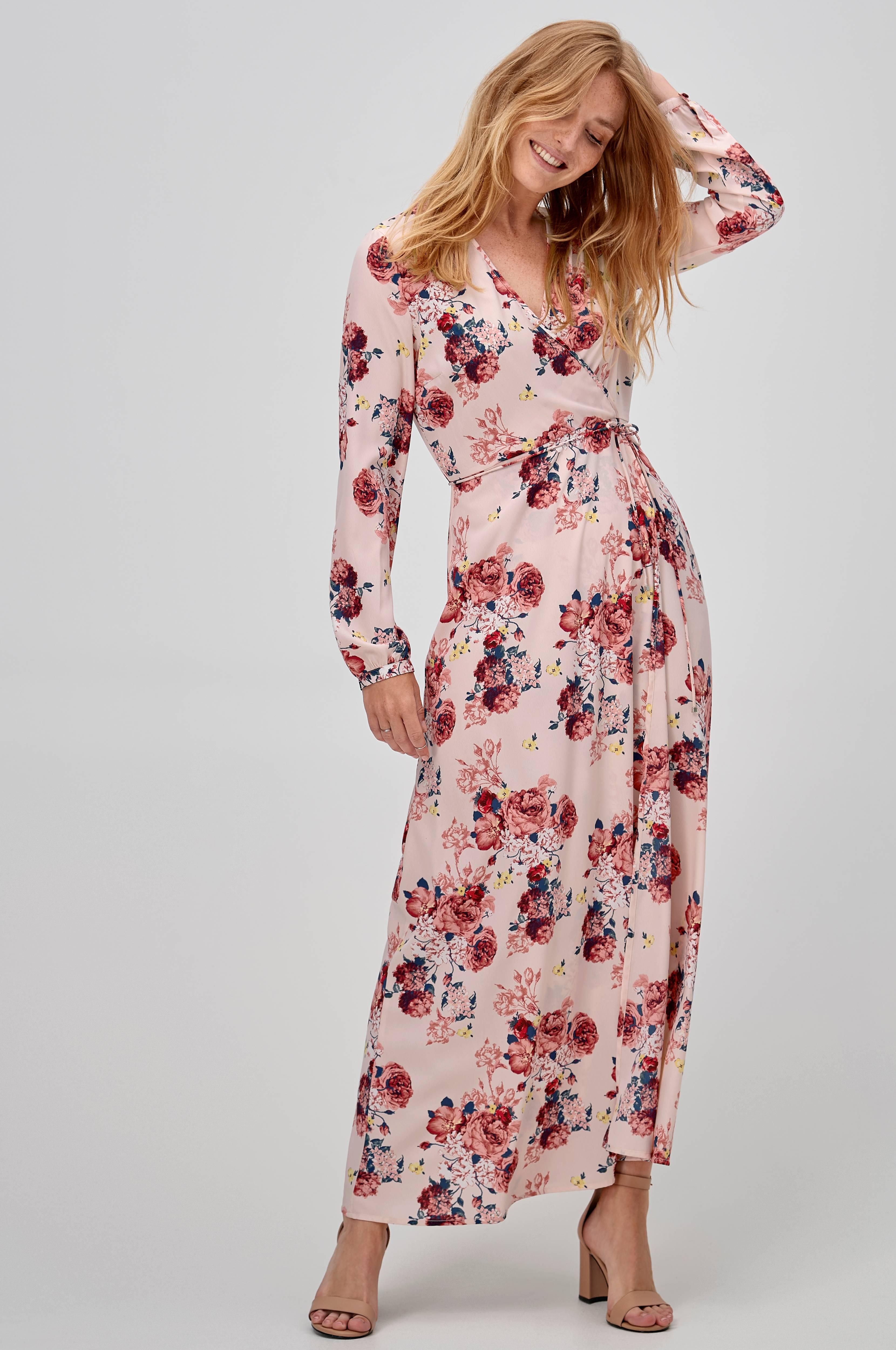 25f49602 Vero Moda Maxikjole viAne L/S Maxi Dress - Rosa - Dame - Ellos.no