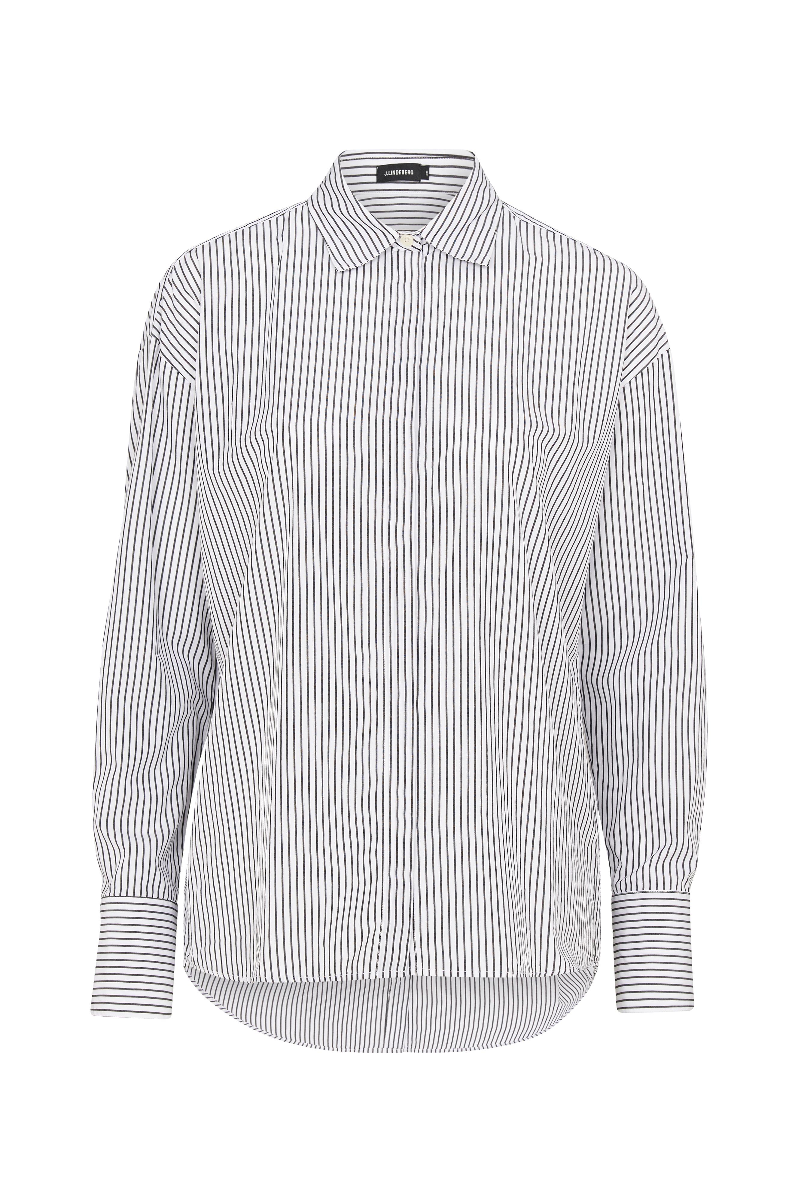 J.Lindeberg Skjorta Nicole Poplin Stripe Shirt - Svart - Dam - Ellos.se ec4228ca0e533