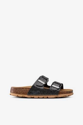 Korkis sandaalit, kimaltava slip in malli