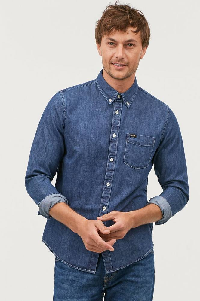 Lee Denimskjorte Button Down Dipped Blue