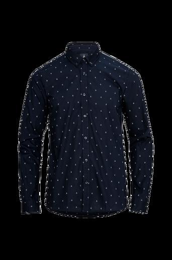 Ams Blauw Allover Print Shirt kauluspaita