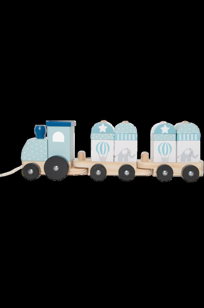 Dragleksak tåg med klossar blå