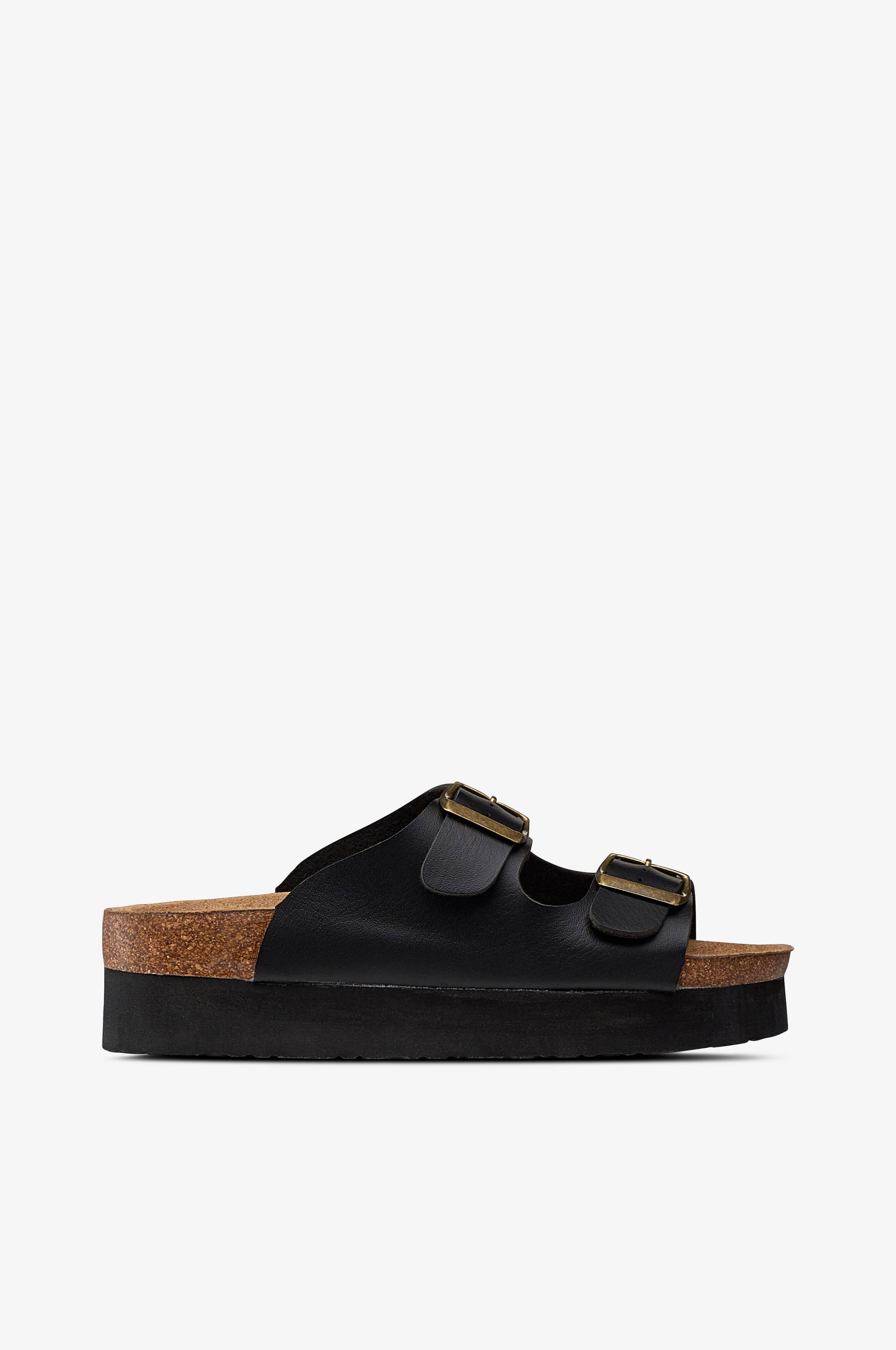 Duffy sandal mhøj hæl, sort