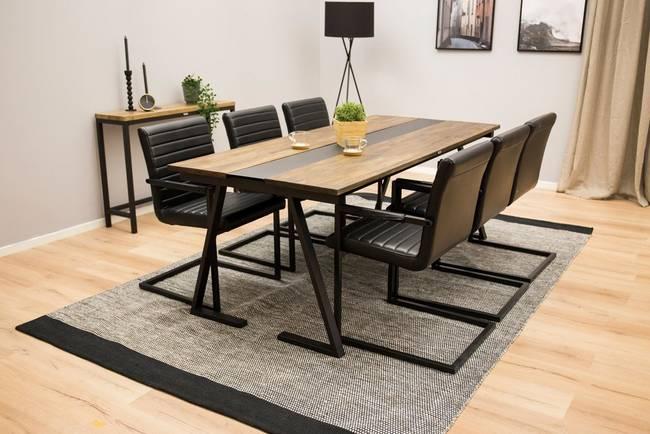Bilde av Spisegruppe Brentwood bord og 6 Artic-stoler