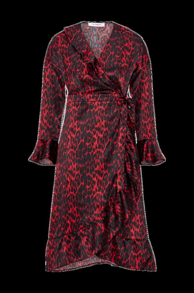 co'couture Slå om-kjole Red Animal Sateen Frill Dress