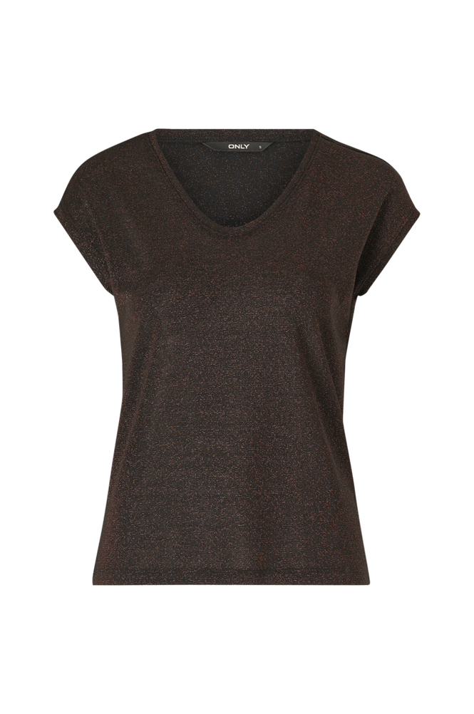 Only Top onlSilvery S/S V Neck Lurex Top
