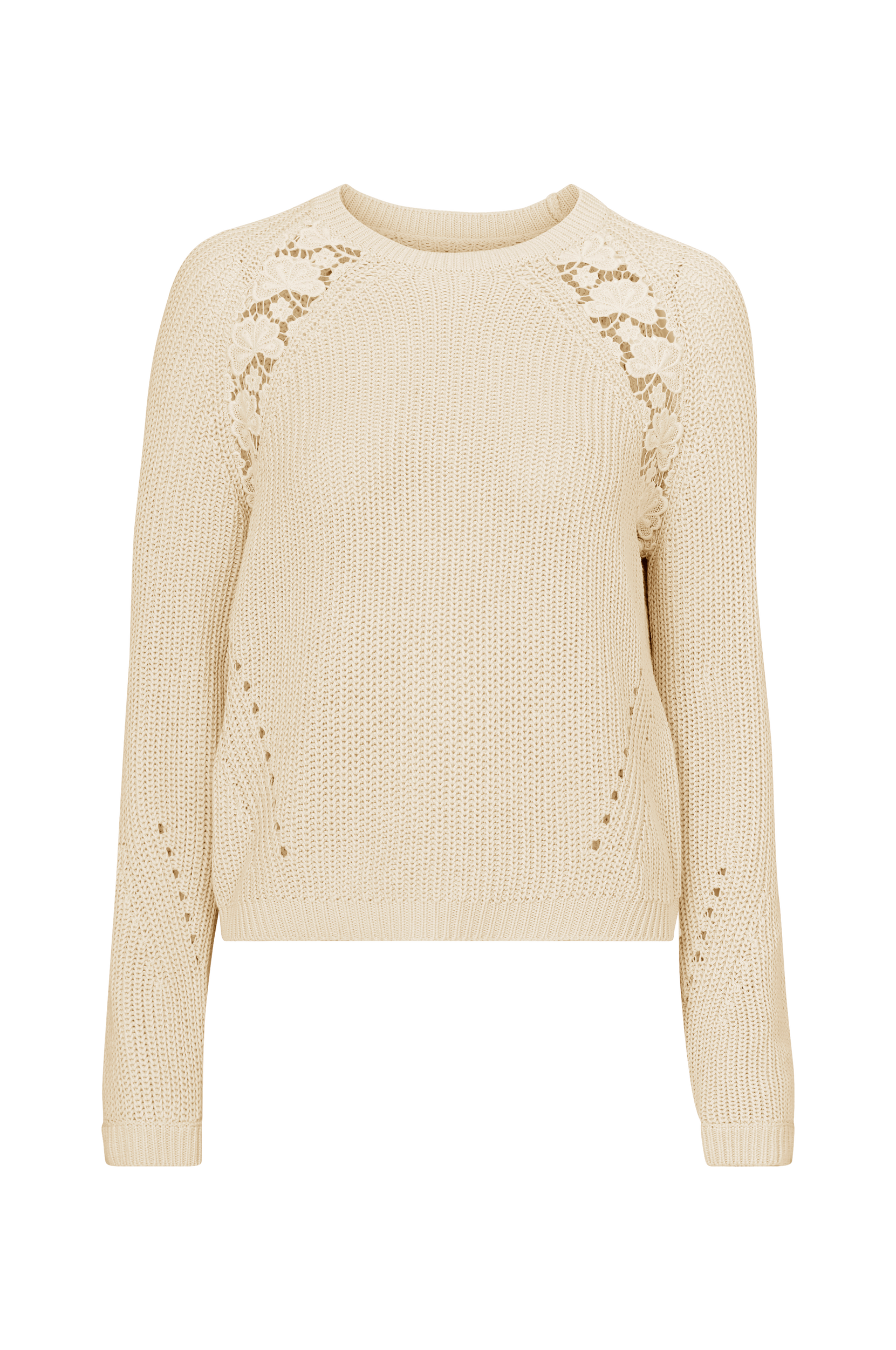 Only - Tröja onlMaga L/S Lace Pullover - Natur