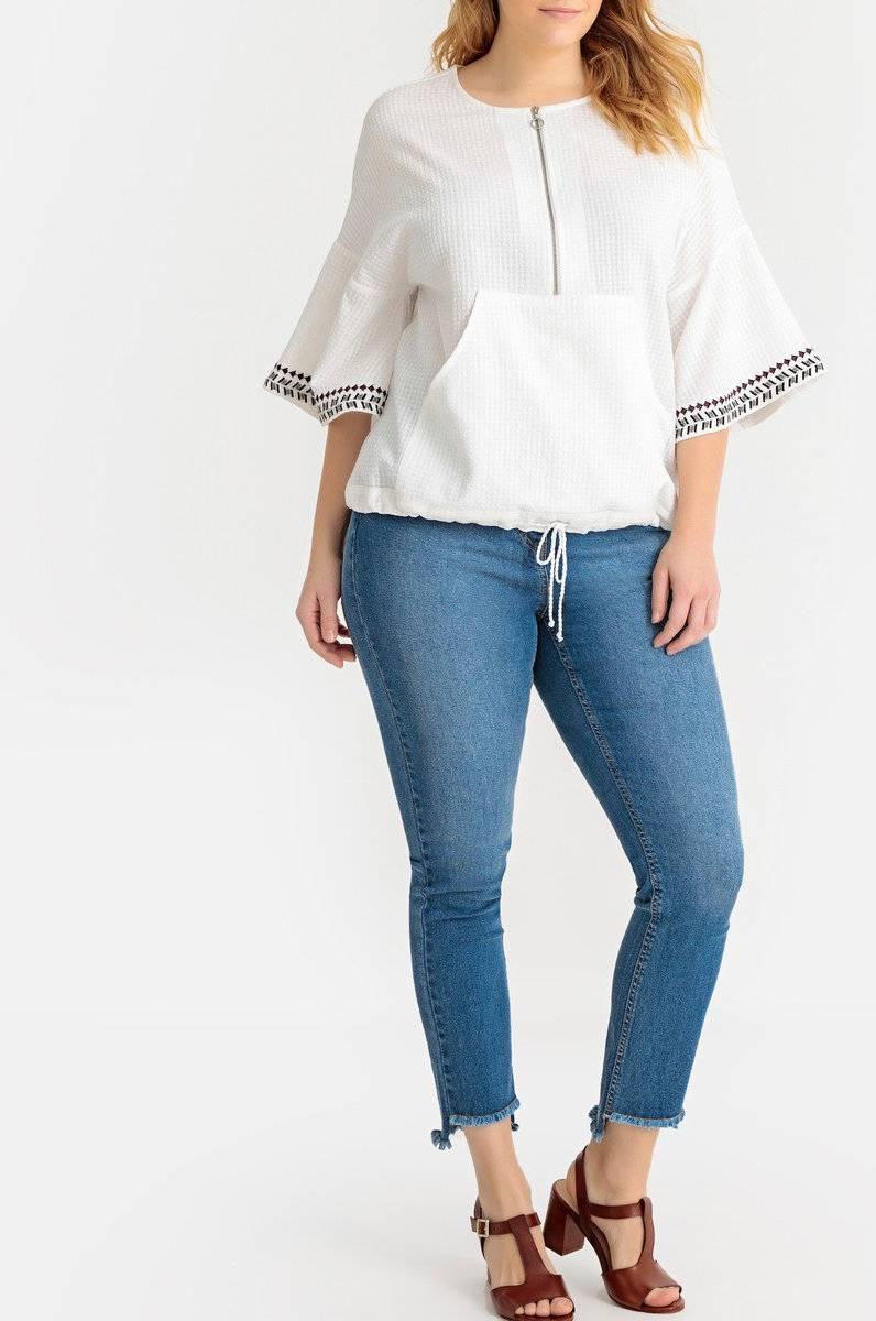 La Redoute Collections Plus Bluse med glidelås, rund hals og