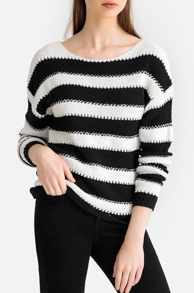 La Redoute Collections Grovstrikket, stripete genser Svart
