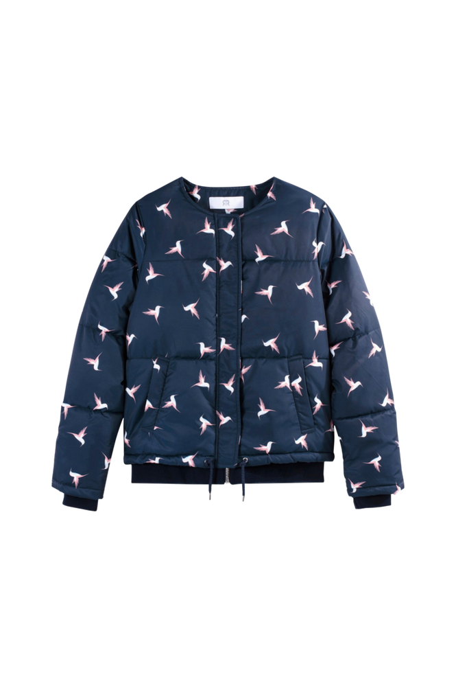 La Redoute Kort dunjakke med fuglemønster