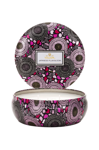 Japanese Plum Bloom - 3 Wick Candle in Decorative Tin 40 h 340 g