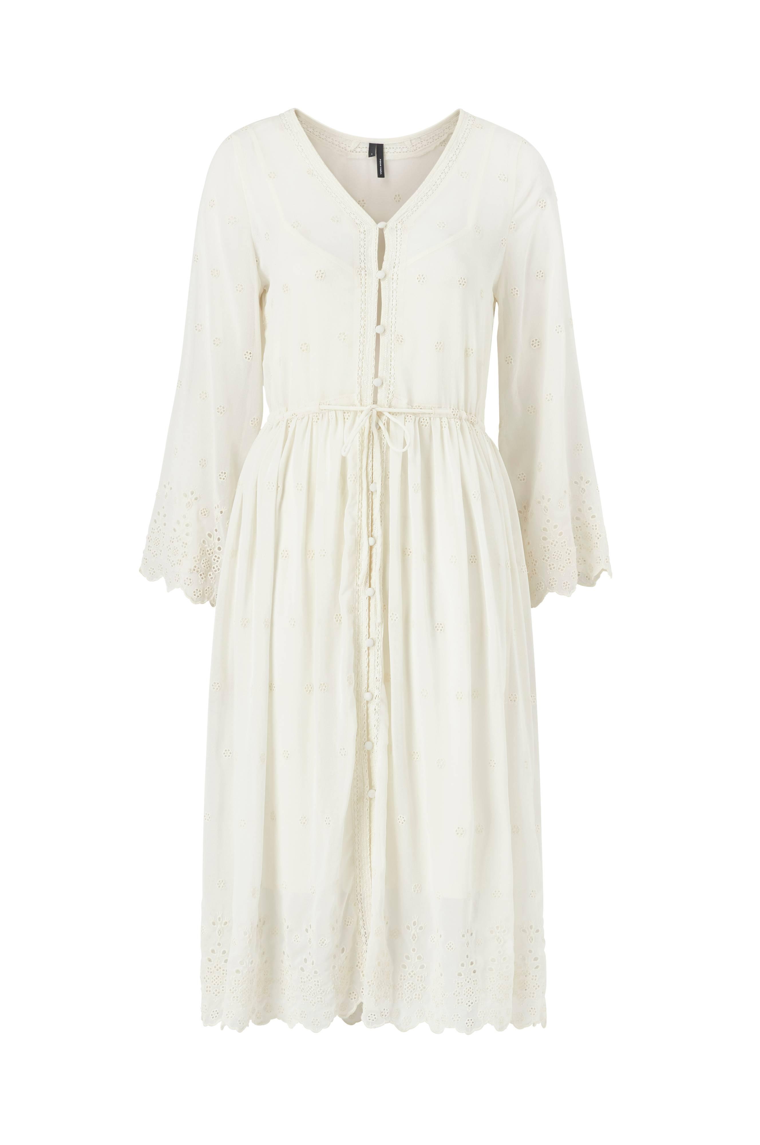 e28cffd7 Vero Moda Kjole vmJasmine 7/8 Emb Calf Shirt Dress - Natur - Dame - Ellos.no
