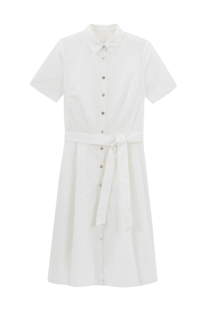 La Redoute Skjortekjole med broderie anglaise og kort ærme