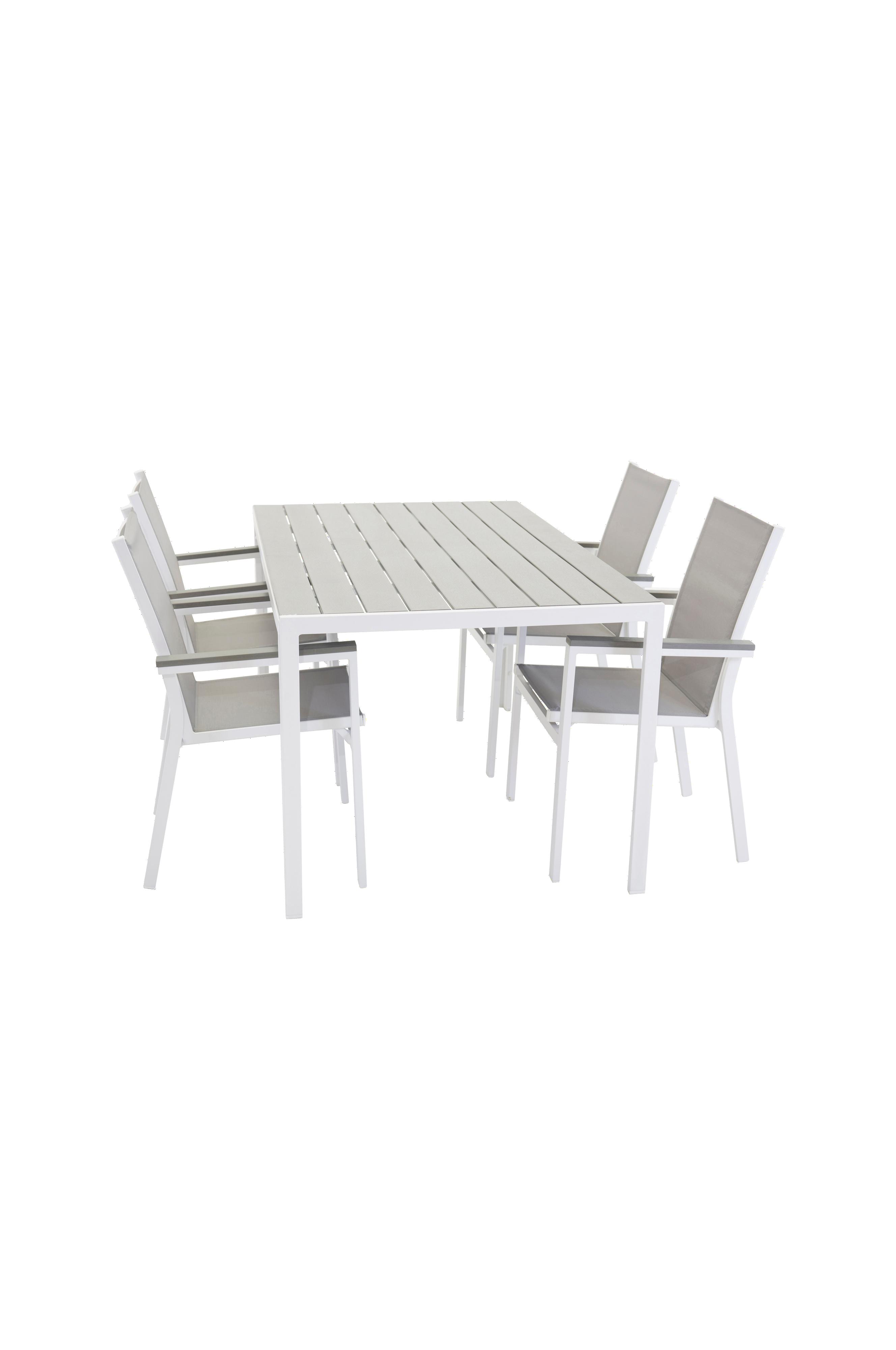NORDFORM Spisegruppe BreakParma, 4 stoler Grå Utemøbler