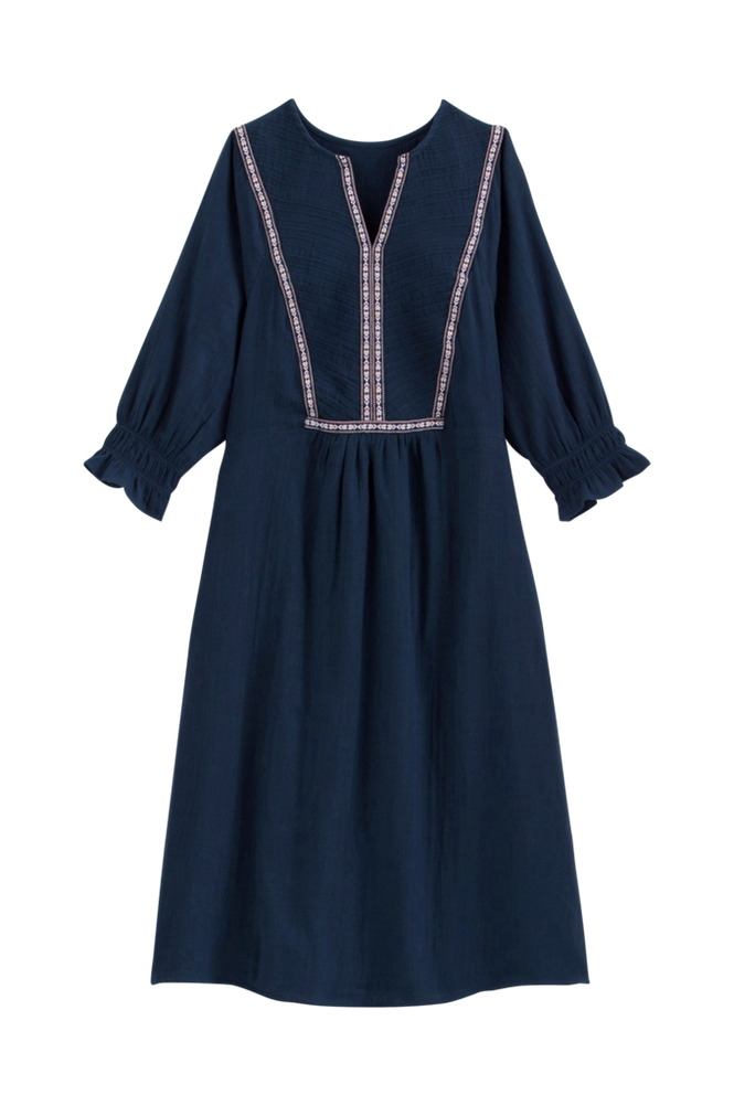 La Redoute A-formet kjole med slids i halsudskæringen og 3/4-langt ærme