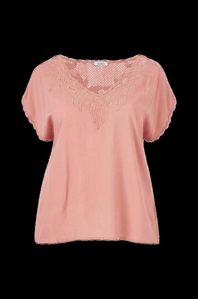 La Redoute Ærmeløs bluse med V-udskæring og blonde i halsudskæringen