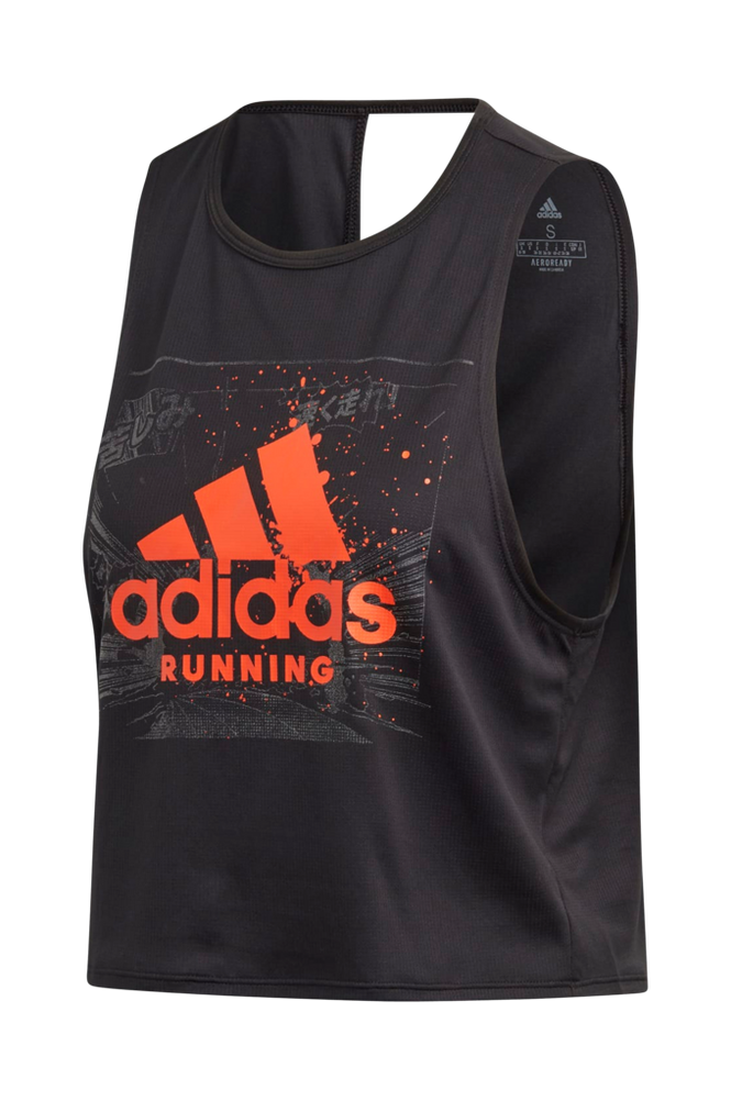 Se adidas Sport Performance Løbetop Fast Graphic Crop Tee ved Ellos