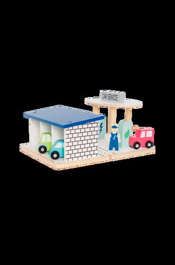 Huoltoasema, jossa autotalli