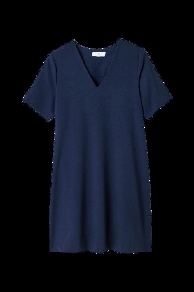 La Redoute A-formet kjole i crepe med V-udskæring og kort ærme