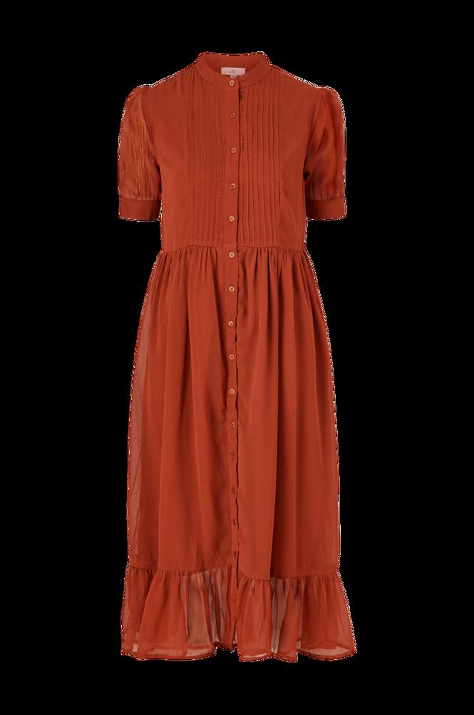 La Redoute Lang kjole med knaplukning og kort ærme