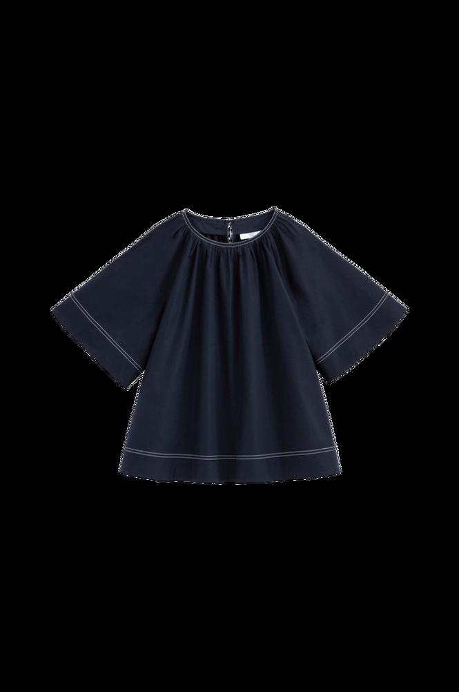 La Redoute A-formet bluse i bomuldspoplin med rund hals