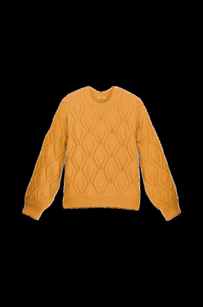 La Redoute Groftstrikket trøje med hulmønster og rund hals