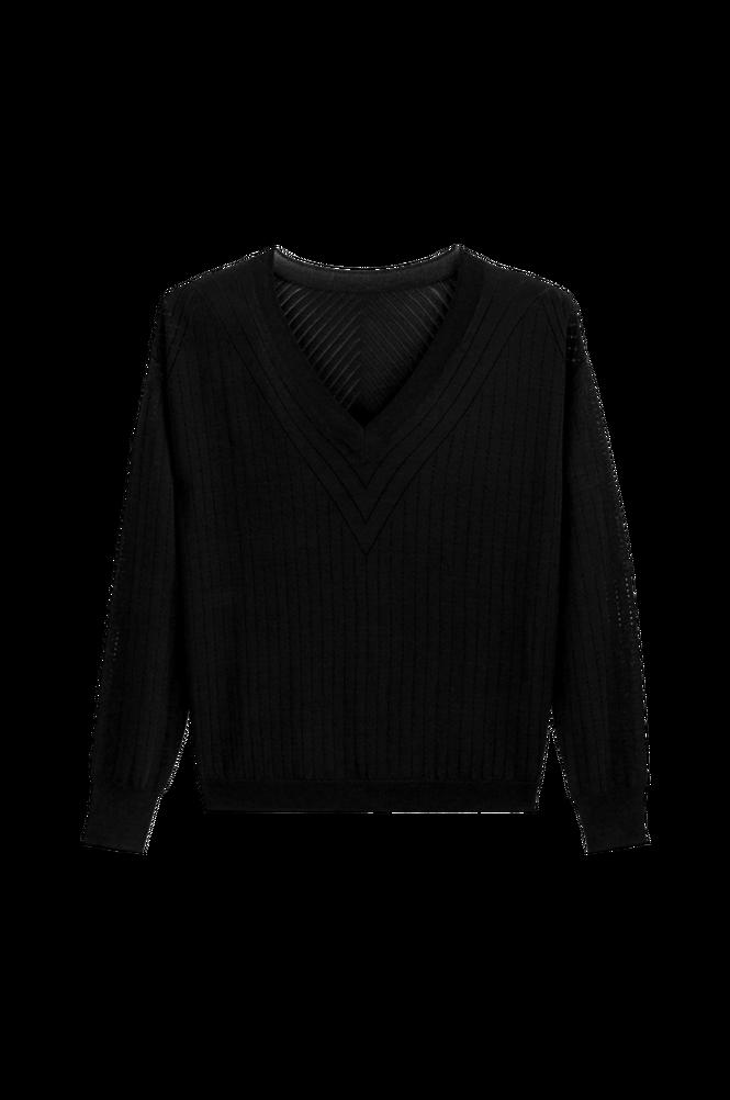 La Redoute Finstrikket trøje med V-udskæring og hulmønster