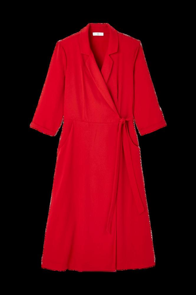La Redoute Slå om-kjole med krave med revers og 3/4-langt ærme