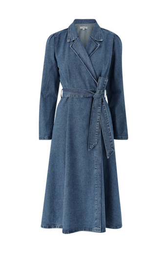 Farkkumekko slfHarper LS Fray Blue Denim Dress