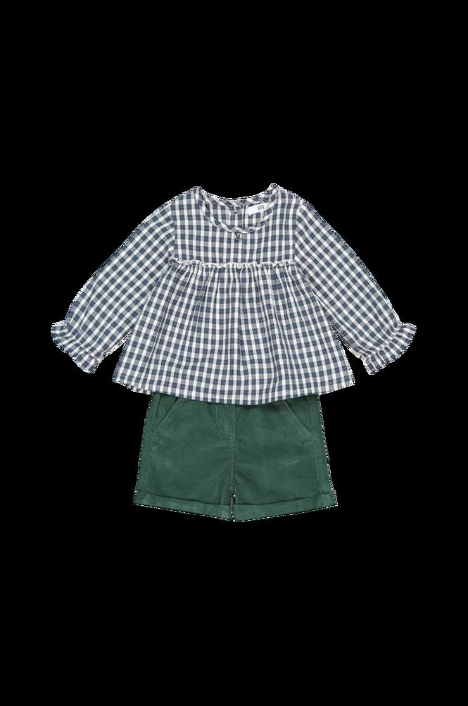 La Redoute Sæt med ternet bluse og shorts