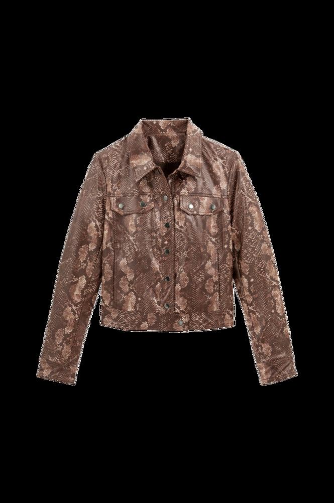 La Redoute Kort, slangeskindsmønstret jakke i imiteret skind