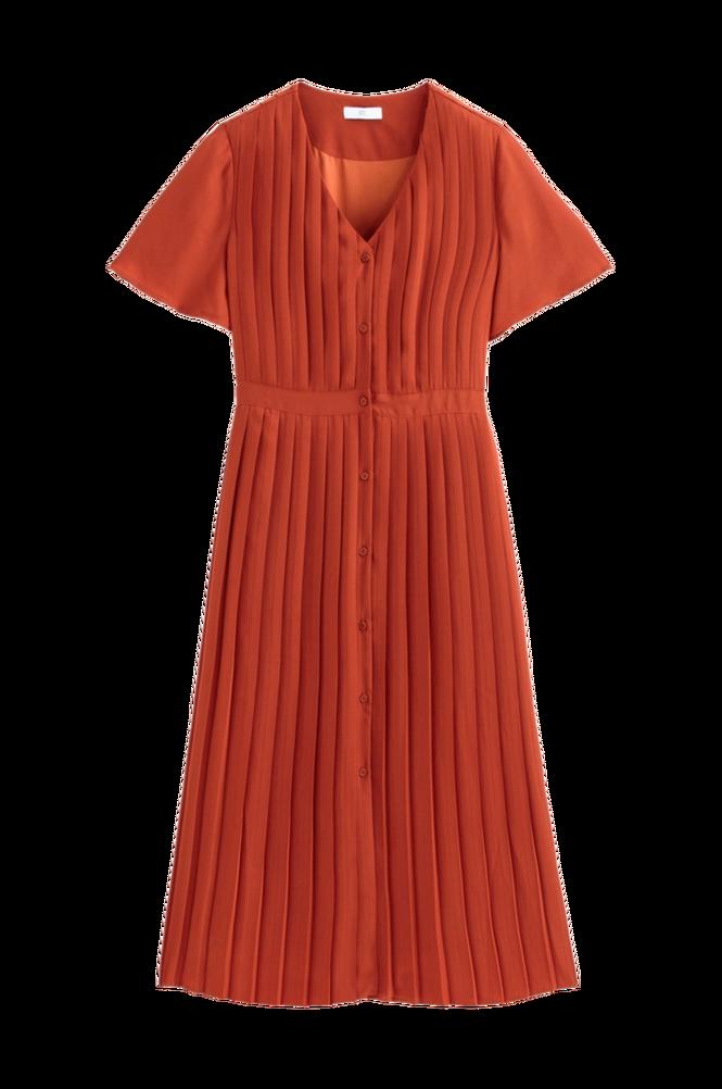 La Redoute Lang, plisseret kjole med knaplukning