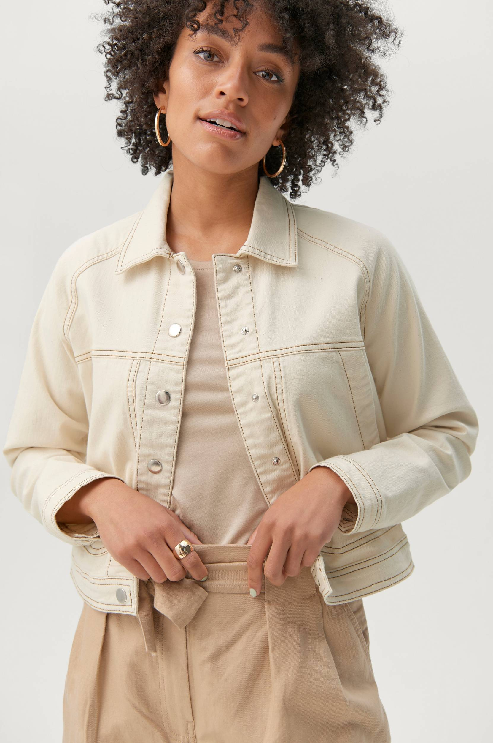Second Female - Jeansjacka Terry Jacket - Natur