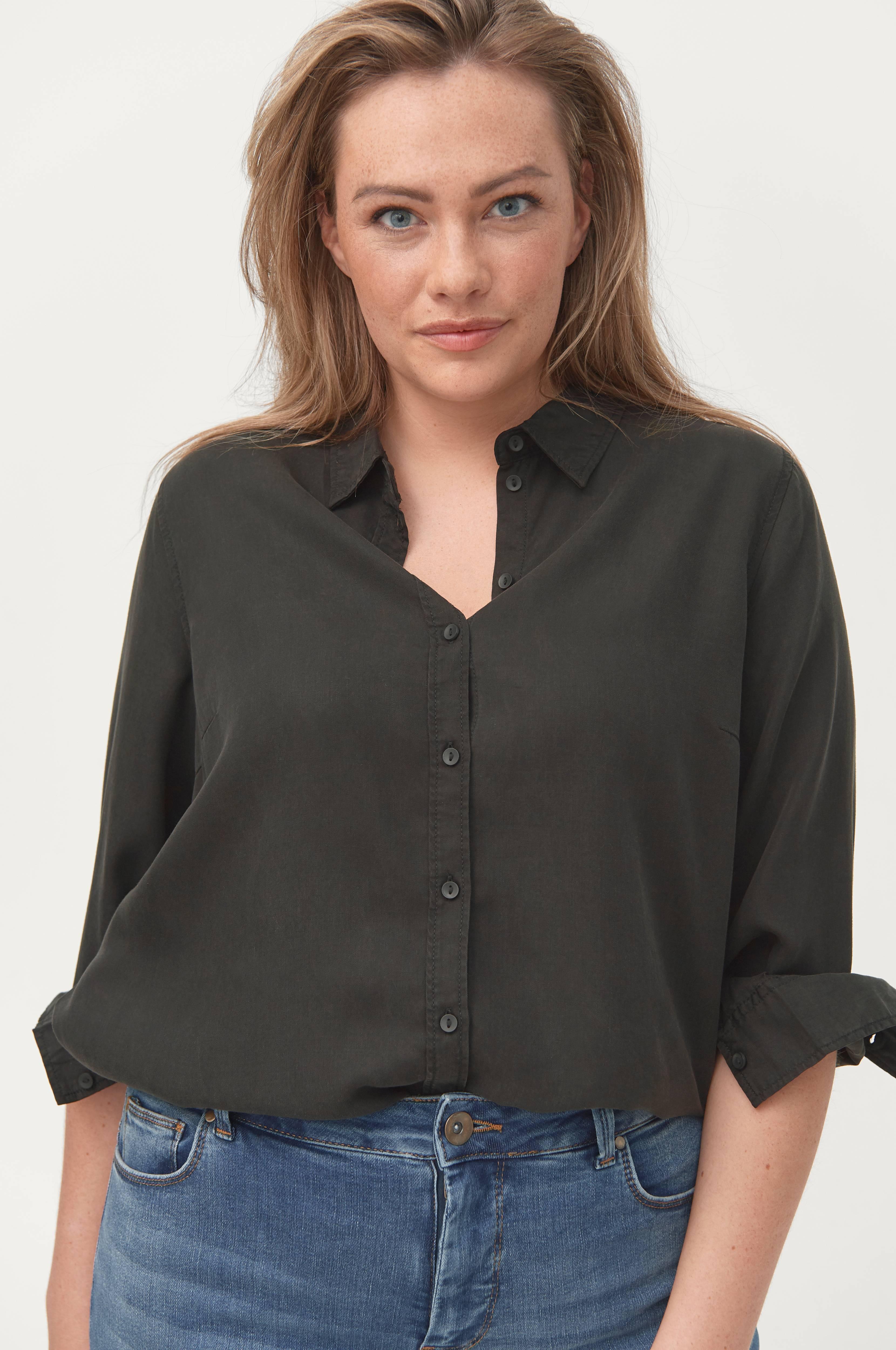 Zizzi Skjorte mNille L/S Shirt - Sort - Skjorter